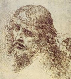 Jesus Christ by Leonardo da Vinci - Drawings Leonardo Da Vinci Dibujos, Silverpoint, Mona Lisa, High Renaissance, Renaissance Artists, Rule Of Thirds, Pierre Auguste Renoir, Old Master, Michelangelo