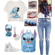 A fashion look from November 2015 featuring H&M jeans, Converse sneakers and Disney backpacks. Browse and shop related looks.