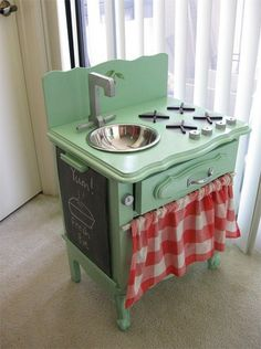 Search for at yard sales for Granddaughters. My Dad made a stove for me over 53 yrs ago.  Treasured memory.