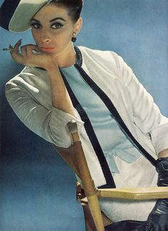 Wilhelmina in a suit of silk and linen by Handmacher, photo by Tom Palumbo, Vogue 1962
