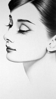 Audrey Hepburn Original Pencil Drawing Minimalism Fine Art Portrait Glamour…