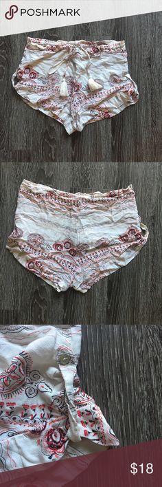 Honey punch tassel shorts Light and breezy, perfect for warm weather! Only worn once. Could be worn high waisted or lower on the waist. The waist is drawstring with tassels on the ends. Honey Punch Shorts