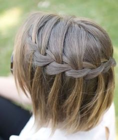 braiding hair secrets Hair-Romance-waterfall-braid-in-short-hairHair-Romance-waterfall-braid-in-short-hair Braids For Short Hair, Cute Hairstyles For Short Hair, Braided Hairstyles, Braid Hair, Simple Hairstyles, Wedding Hairstyles, Hairstyle Ideas, Hairstyle Tutorials, Beautiful Hairstyles