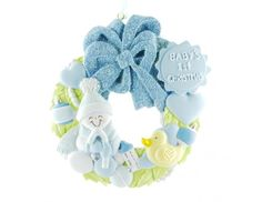 Baby Ornament First Christmas Wreath Personalized Blue