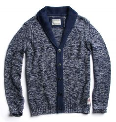 Cotton mouliné cardigan with shawl collar and front pocket mouline' midnight blue