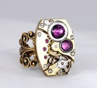Steampunk Ring Steam Punk Ring Steampunk Vintage Watch Ring Amethyst Purple Art Deco Rectangular Steampunk Jewelry By Victorian Curiosities