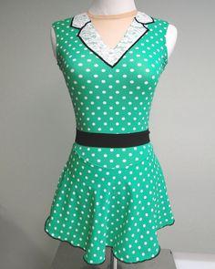 50's vintage figure skating dress by Sk8 Gr8 Designs. Love those polka dots! www.sk8gr8designs.com or email info@sk8gr8designs.com