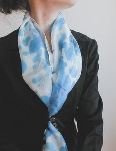 Hand painted silk shawl hand painted silk scarf | handpainted | azure and light blue and teal and white | minimalist fashion | pastel palette | pastel colors | summer scarf | summer fashion | fashion accessories | light scarf | long scarf | abstract art