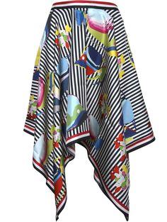 Thom Browne   Handkerchief Stripes & Floral Fish Print Skirt.