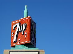 Fresh up with 7up The neon 7up sign atop the Portland Bottling Company building. Portland, Oregon.