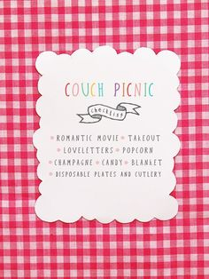 """picnic...we do this all the time my husband and I, """"Sofa picnics"""" but I never though of inviting others! Now I will."""