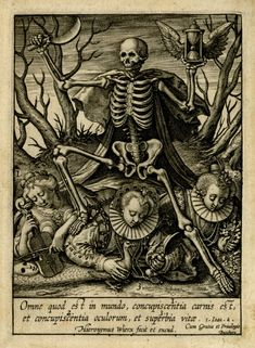 Hieronymus Wierix - Death seen at centre, holding an hour-glass and a sickle, trampling over the personification of concupiscence, earthly riches and pride.