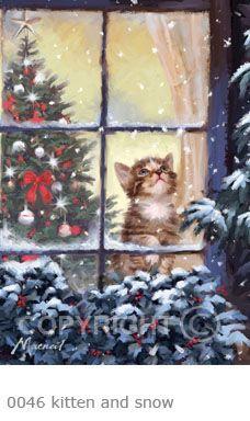 Christmas Kitten at the Window. Christmas Kitten, Old Christmas, Christmas Scenes, Christmas Animals, Vintage Christmas Cards, Christmas Images, Vintage Holiday, Christmas Wishes, Vintage Cards