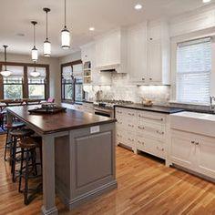 Historic Foursquare Kitchen - traditional - kitchen - minneapolis - w.b. builders    Gray island
