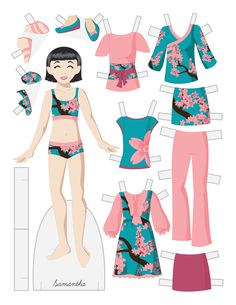 Paper dolls by Julie Allen Matthews.  A Japanese inspired tween fashion paper doll.