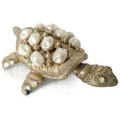 Vintage Florenza Baroque Pearl And Rihinestone Turtle Nodder Figurine by…
