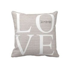 Personalized LOVE Wedding Pillow Anniversary Gift by JolieMarche, $35.00