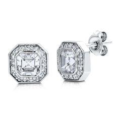 Berricle Sterling Silver Asscher Cut Cz Halo Stud Earrings