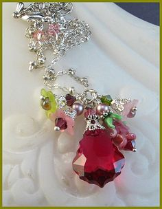"""Items similar to New """"Hidden Rose"""" Glass Lampwork Bead Swarovski Ruby Red Crystal Lucite Floral Baroque Pendant Necklace on Etsy Crystal Jewelry, Jewelry Necklaces, Chain Jewelry, Jewelry Box, Jewlery, Jewelry Crafts, Handmade Jewelry, Jewelry Ideas, Victorian Jewelry"""