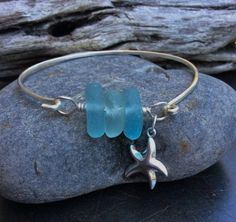Sea glass jewelry Blue sea glass and by FatCatsOnTheBeach on Etsy