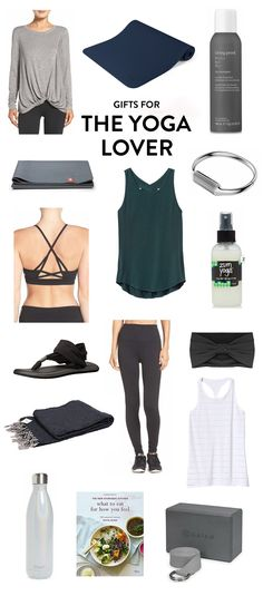 Perfect for the yoga-loving friends in your life! Holiday gifting ideas include everything from a cute top to a non-slip mat to dry shampoo, a FitBit bracelet, mat cleaner spray, tank top, headband, block and strap set, ayurveda cookbook, water bottle, blanket, Sanuk sandals, sports bra and a foldable travel yoga mat. | The Yogi Gift Guide | Gimme Some Oven Holidays 2017