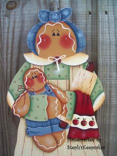 Hand Painted Gingerbread Wall Hanger by stephskeepsakes on Etsy