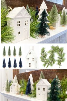 Create an easy Christmas mantel using bottlebrush Christmas trees and Christmas village houses. This is a simple and affordable mantel display. Target Christmas Decor, Christmas Cushions, Christmas Mantels, Christmas Decorations, Holiday Decor, Table Decorations, Christmas Decorating Ideas, Diy Christmas Fireplace, Fireplace Mantels