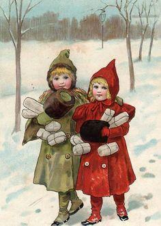 Children In Snow-Jenny Nystrom (1854 – 1946, Swedish)