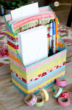 Need to organize your documents and magazines? Use an old cereal box and some washi tape!