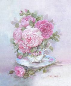 Teacup Bouquet - Debi Coules Romantic Art
