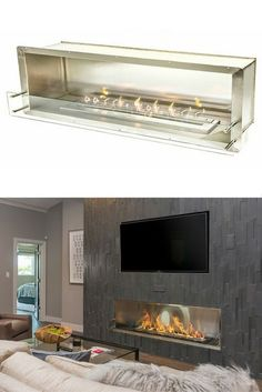 The Bio Flame 72″ Firebox SS - Ethanol Fireplace