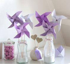 6 moulins à vent, coloris violet, mauve, blanc : Accessoires de maison par latelierdesconfettis