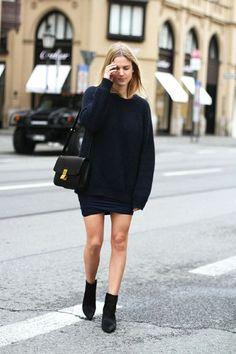 Black knit, miniskirt, Celine bag & boots #style #fashion