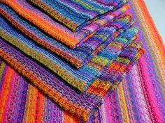 Handwoven Tea Towel Dishtowel - Rainbows. $30.00, via Etsy.  Pretty colors!