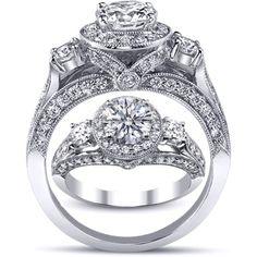 Three Stone Cathedral Round Diamond Engagement Ring