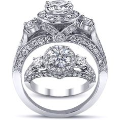 Three Stone Cathedral Round Diamond Engagement Ring