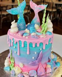 mermaid cake for mermaid birthday party Mermaid Birthday Cakes, Mermaid Cupcakes, Birthday Cake Girls, 5th Birthday, Unicorn Cupcakes, Birthday Ideas, Mermaid Tail Cake, Mermaid Tails, Little Mermaid Cakes