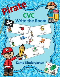 This phonics resource offers 5 engaging Write the Room literacy centers for your little pirates to practice CVC words and short vowel sounds. There are 10 cards in each activity. Each card has a picture of a CVC word, the corresponding CVC word with the vowel missing, and a pirate/school themed image.
