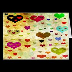 Hearts-Grunged Greeting Cards