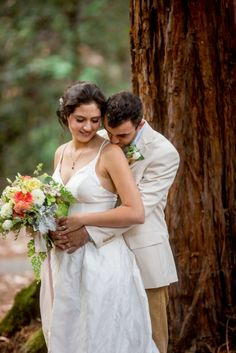 Julie and Cabell were married in the Santa Cruz redwoods in a magical forest wedding. Santa Cruz Redwoods, Magical Forest, Wedding Flowers, Wedding Dresses, Forest Wedding, One Shoulder Wedding Dress, California, Sky, Magic Forest