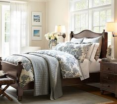 Pottery Barn's expertly crafted collections offer a widerange of stylish indoor and outdoor furniture, accessories, decor and more, for every room in your home. Small Master Bedroom, Dream Bedroom, Home Bedroom, Bedroom Decor, Guest Bedrooms, Bedroom Sets, Bedding Sets, Pottery Barn Bedrooms, Beautiful Bedrooms