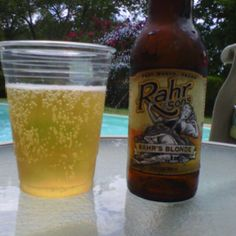 Rahr's Blonde Lager, Rahr & Son's Brewing Company, Ft. Worth, Texas! Why yes I will have a beer while I chill at the Pool! Happy Memorial Day 2012!