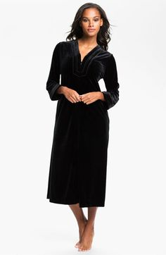 Oscar de la Renta Sleepwear 'Zahara Nights' Zip Front Velvet Robe available at #Nordstrom