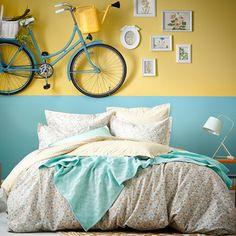 Taie d oreiller réversible 100% coton fleur Liberty losange bleu/jaune HAPPY