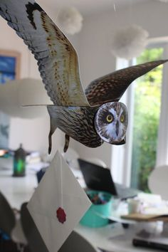 Every Harry Potter fan can now have their very own Hogwarts flying owl mobile to deliver their mail. IF BUYING FROM THE USA, PLEASE ALLOW UP TO 2 WEEKS FOR DELIVERY. IF YOU NEED YOUR ITEM FASTER PLEASE SEE EXPRESS SHIPPING DETAILS BELOW. This sale is for the purchase of 1 of 3 different variety of flying owl selected at random from Barn owl, Tawny Owl and Short-Eared Owl. Each has an impressive wing span of 54cm and comes complete with a personalised letter. These make wonderful…