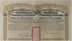 CHINA Government of the Province of Petchili-bond-  --------------------------------    certificate for Scripophily