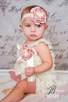Ivory Petti Romper Set - Lace Petti Romper and Headband Set - Baby Girl Toddler Photo Prop. $31.50, via Etsy.