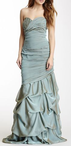 Dalia MacPhee Long Ruched Strapless Gown