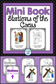 Printable Stations of the Cross Booklet for Catholic kids. This activity is perfect for Lent. Children can color the images and follow along in church with their own mini book. Great for Religion and Faith Formation! #StationsOfTheCross #Lent #Catholic #CatholicKids