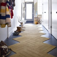 LOVE the layout of the Flor tiles in the hallway. What a fun alternative to the traditional hallway runner!